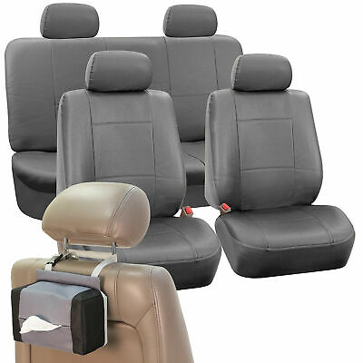 Faux Leather Car Seat Covers Solid Gray with Headrests/Tissue Dispenser