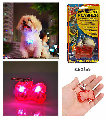 Dog Collar Hi Viz LED Flasher Tag Cat Pet Safety Visibility Lead Flashing Light