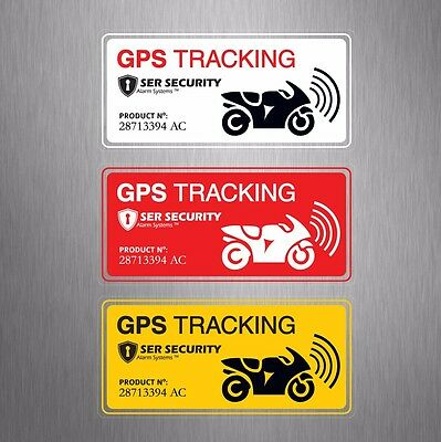 3x2 Motorbike SECURITY WARNING STICKER - GPS Tracking System - Motorcycle Bike