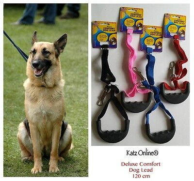 Strong Flat Nylon 120cm Dog Lead Comfort Grip Handle Puppy Pet Leash Clip Collar