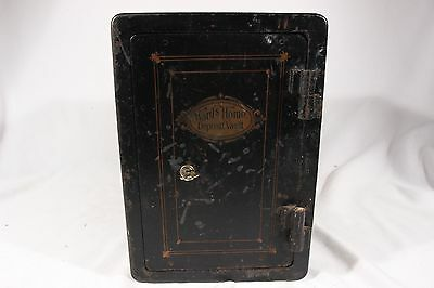 RARE ANTIQUE WARDS HOME DEPOSIT VAULT SAFE With KEY In Great Condition!