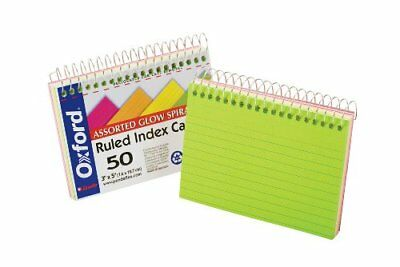 "Oxford Spiral Bound Glow Index Cards, 3"" x 5"", Ruled, Assorted Bright Colors, 50"