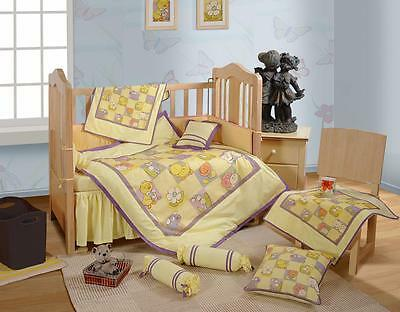 7 Pcs Digital Printed Duckling Cotton Baby Crib Bedding Set Bumper Quilt Sheet