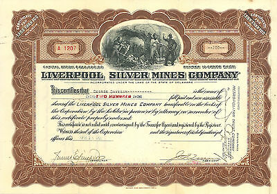 Liverpool Silver Mines Company - 95 Year Old vintage Stock Certificate