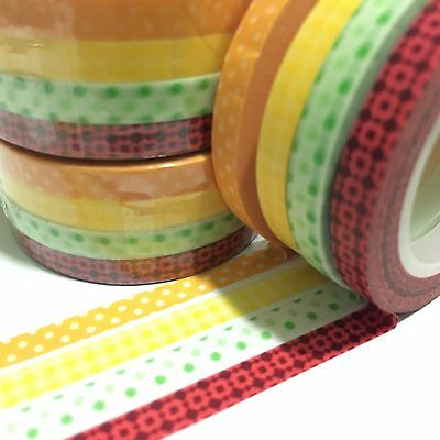 Washi Tape Thin Skinny Juicy 4 Roll Set Each 5Mm Wide X 10Mtrs Scrap Craft Plan