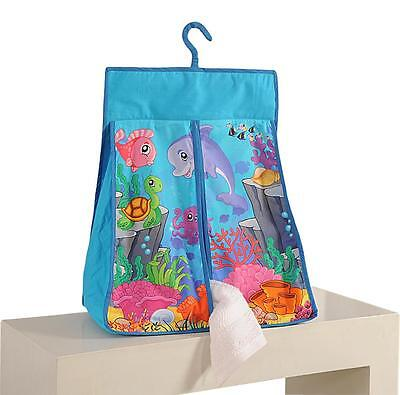Digitally Printed Marine Ocean Blue Cotton nappy / diaper stacker