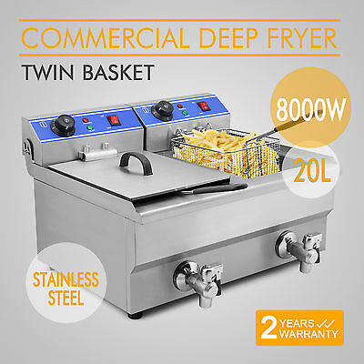 8000W 20L Commercial Deep Fryer Electric Double Basket Benchtop Stainless Steel