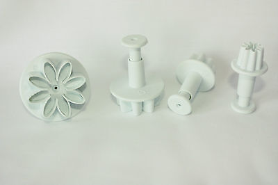 Set of 4 Daisy/Marguerite Plunger Cutters, Sugarcraft, Cake Decorating