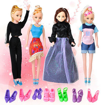 5 pack Outfit Dress Clothes + 10 Pairs Shoes for Barbie Doll Party Daily Wear