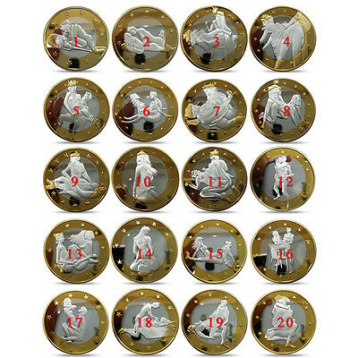 1 Set 34pcs 2015 Sex 6 Euro Coins Gold Plated Commemorative Sexy Art Collection