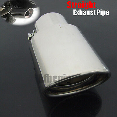 """Universal 2.5"""" Inlet Oval Tip Stainless Steel Exhaust Muffler Tail Pipe Chrome"""