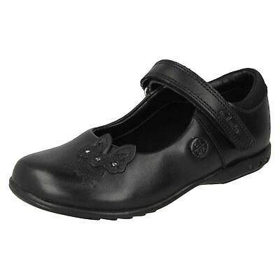 Clarks Girls Shoes Black Leather with Lights Trixi Run G Fitting UK7 to12.5 (KR)