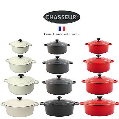 Chasseur Round Oval Cast Iron Casserole Cooking Pot Oven Dish