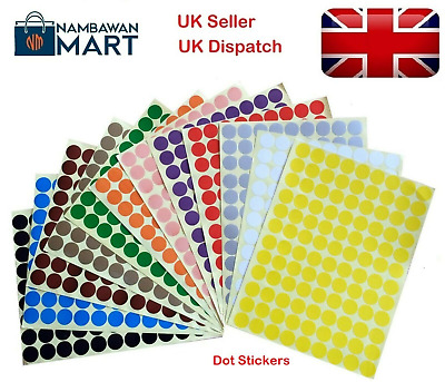 15mm Coloured Dots Round Stickers Sticky Adhesive Spot Circle Paper Labels BN UK