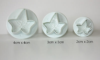 Set of 3 Veined Ivy Leaf Plunger Cutter Sugarcraft, Cake Decorating, SMALL