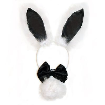 Hen Party Bunny Set - Ears, Bowtie and Tail (Black-White)