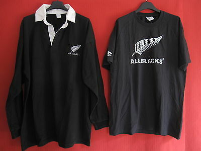 Maillot + Tee Shirt ALL BLACKS New Zealand vintage Rugby Oldschool BE - XL