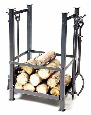 Black Freestanding Fireside Log Holder With Companion Set Tools Included!