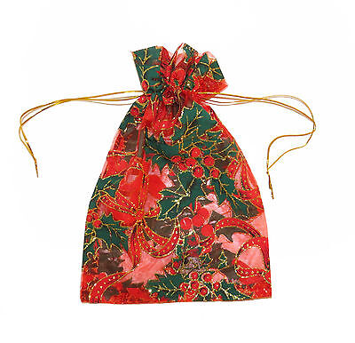 **new* Christmas Organza Bags - Red Snowflake Holly Print - 12 Pack  Small Large