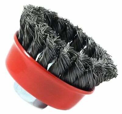 Forney 72757 Wire Cup Brush, Knotted with 5/8-Inch-11 Threaded Arbor,