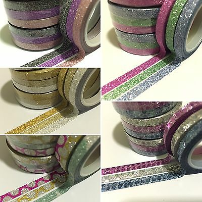 Washi Tape Skinny Thin Skinny Glitter Sets 5Mm X 5Mtr Scrap Craft Wrap Plan