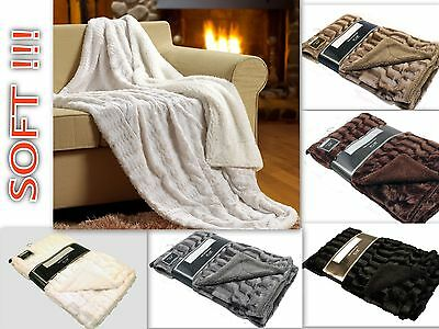 Super Soft Blanket Luxury Faux Fur Sherpa Reversible Solid Throw Blankets
