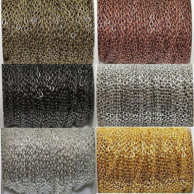 Wholesale 100m Silver/Gold Color Open Link Iron Metal Chain Findings Making DIY