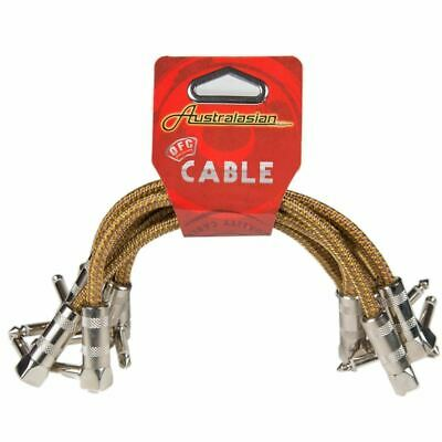 6 X Australasian 6 Inch Braided Tweed Patch Lead Cable Right Angle, Pedal Boards