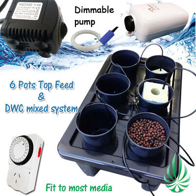 Hydroponics 6 Pots Watering Dripping System With Water Pump Completed Setup Kits