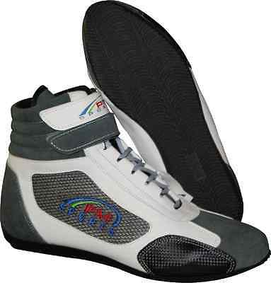 Karting//Race/Rally/Track Boots with artificial leather / suede mix GREY/WHITE