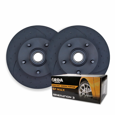 DIMPLED SLOTTED FRONT DISC BRAKE ROTORS + PBR Rectangle PADS for Holden HX HZ