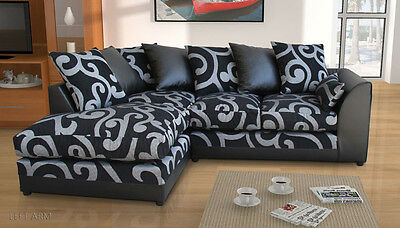 New Zina Black Swirl Fabric Corner Sofa with 2 or 3 Seater, Footstool, Armchair