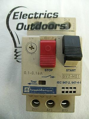 Telemecanique 0.1 - 0.16 Amp Manual Start Stop Switch Gv2 M01