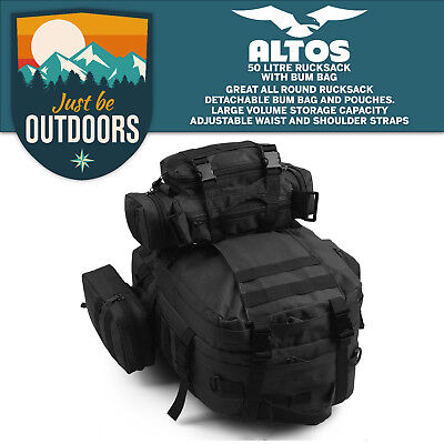50L Molle Black Tactical Outdoor Assault Military Rucksack Backpack Camping bag