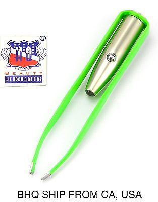 Stainless Steel Make Up LED Light Eyelash Eyebrow Hair Removal Tweezers - Green
