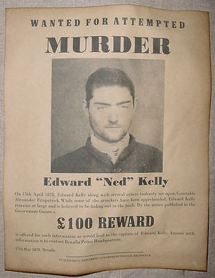 Ned Kelly Wanted Poster, outlaw, Australia