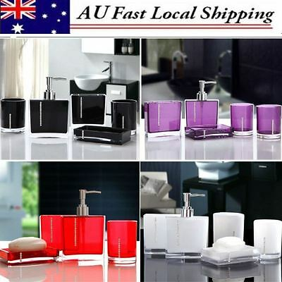 5Pcs Acrylic Bathroom Accessories Set Bath Resin Wash Cup Toothbrush Holder Gift
