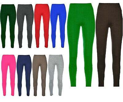 Ages 2-13 (20+ Colours) Girls Plain Full Length Legging Brown Black Grey White