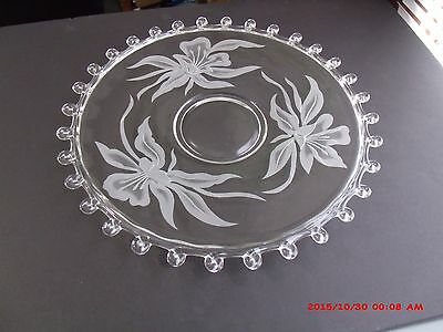 "Heisey Glass Lariat Large 14"" Torte Serving  Plate Carved Etched Flower"