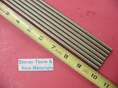 """7 Pieces of 1/4"""" C360 BRASS SOLID ROUND ROD 10"""" long .250"""" Lathe Bar Stock"""