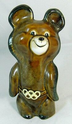 USSR 1980 Moscow Olympic Games Porcelain Mishka Bear Izolyator Plant Very Rare