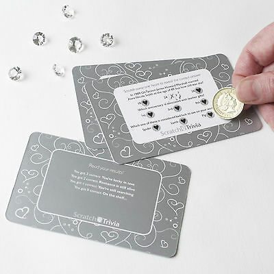 10 SILVER HEART WEDDING SCRATCH TRIVIA CARDS Icebreaker Table Games Quiz Favour