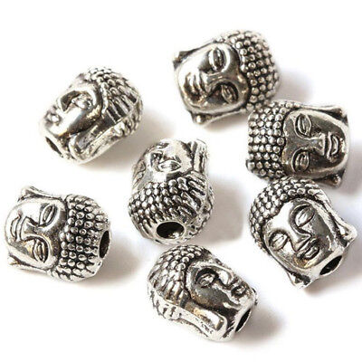 10 Pcs 3D Buddha Head Bracelet Connector Charms Spacer Beads Jewelry Making