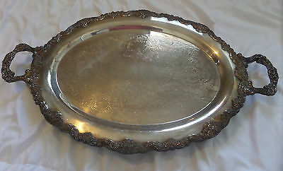 Vtg Huge Oval Sheridan Silverplate Plater/tray Meatserving Edges Handles Ornate