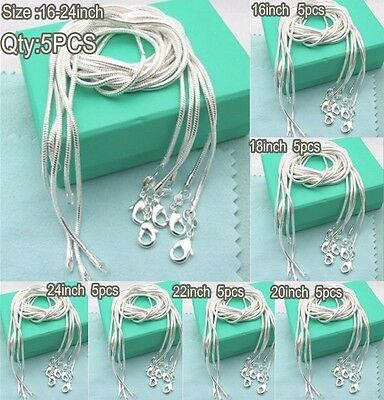 1MM 5PCS SOLID SILVER 925SILVER JEWELRY SNAKE CHAINS NECKLACES + BOX Accessories