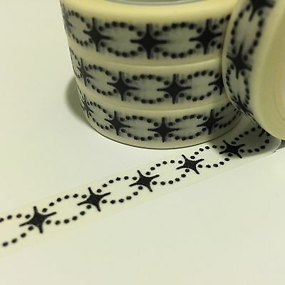 Washi Tape Thin Black Chain 10Mm Wide X 10Mt Roll Scrap Plan Craft Wrap