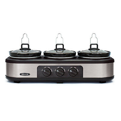 Bella Cook & Serve 3 Pot Slow Cooker With Keep Warm Buffet Setting