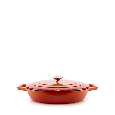 Home Collection Orange Shallow Cast Iron Casserole Dish From Debenhams
