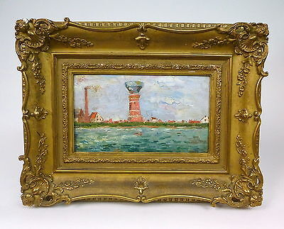 Antique Painting Picture ca. 1900 Light House Rügen ?