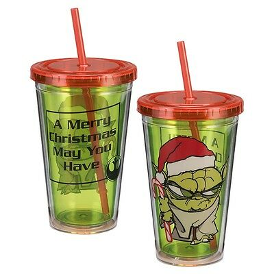 STAR Wars YODA GRINCH Holiday CHRISTMAS Acrylic TRAVEL CUP w/ Lid and STRAW 18oz